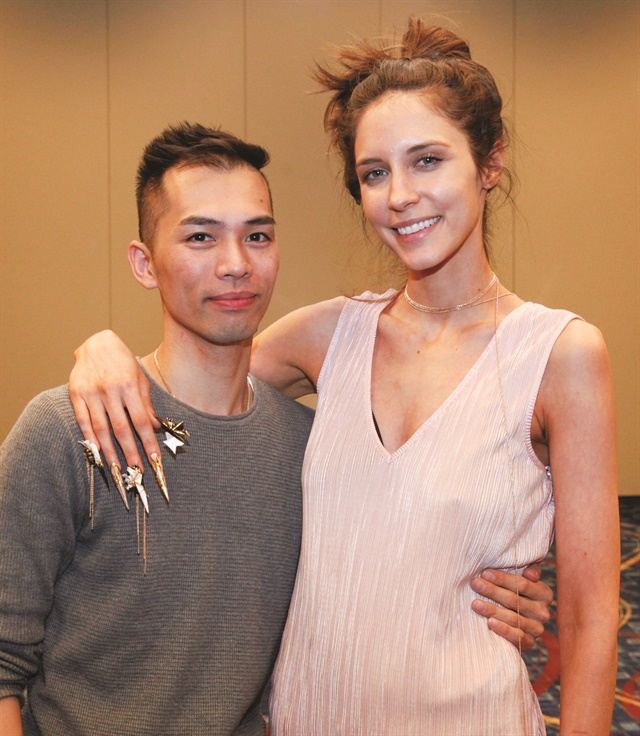 <p>Pham and model Maria Ward</p>