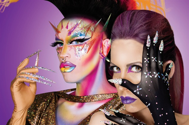 <p>Creator Vie Lette (right) and her brother (in drag as Acid Betty) model Unicorns Poop Glitter gloves.</p>
