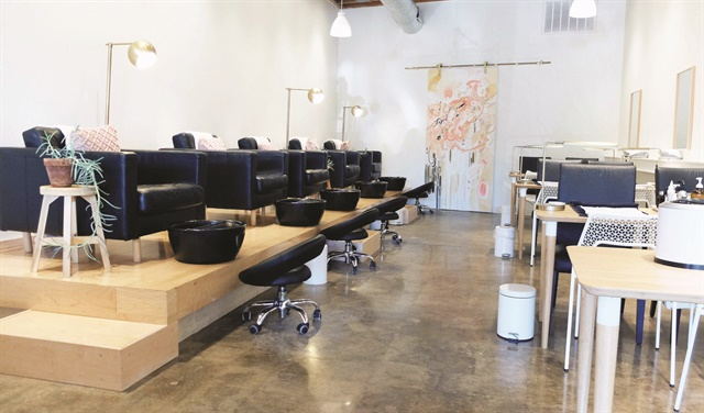 The salon's owners created a clean, soothing design.