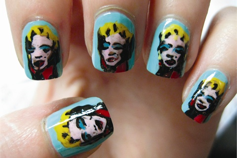 Inspired by Andy Warhol's Marilyn, 1967 (On Blue), these nails were extremely time consuming and a nod to Osborn's love of art history.