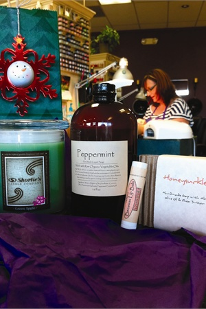 <p><em>Anderson's gift bag this year will contain a scented candle, organic peppermint foaming soap, organic bar soap, and organic lip balm.</em></p>