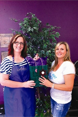 """<p><em>Lisa Anderson (left) has been doing Megan Williford's nails and toes since 1990, and Williford says of the gift bags, """"It is so nice to receive such a thoughtful gift that truly makes me feel appreciated as a client."""" </em></p>"""