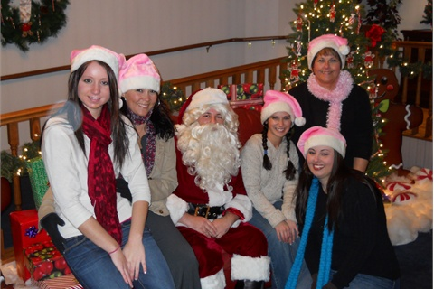 "<p><em>Greencastle, Pa.'s, Valentine's Spa & Salon celebrates Christmas with a tree decorated with custom-made ornaments for clients to take home, and a visiting Santa to spread Christmas cheer. From left to right are Kayla Burkholder, Michelle Brechbiel, ""Santa"", Ashley Link, Jamie Hess, and owner Patti Valentine.</em></p>"