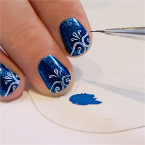 A calligraphers touch how to use the be creative nail art pen use a small detailer brush to add detail to the center of the white lines enhancing the design by giving it a slight embossed prinsesfo Gallery