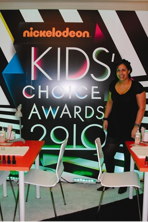 Spa Events NY has manicure tables set up for Nickelodeon's Kids' Choice Awards, 2010.