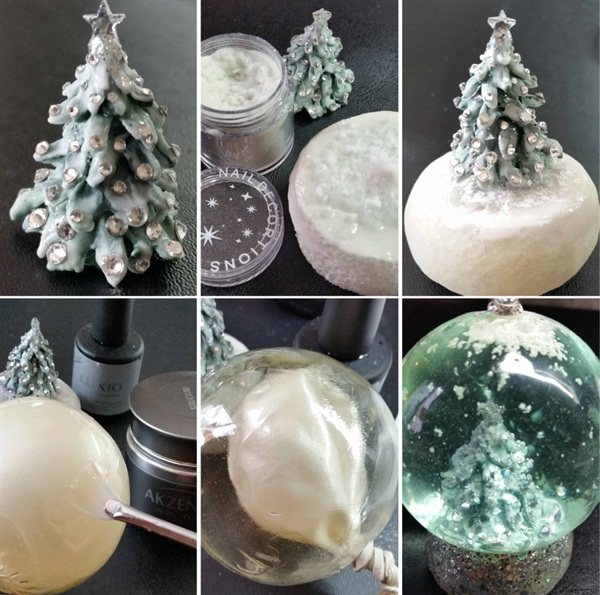 <p>In addition to sculpting the icicle nails for this month's cover, Gina also sculpted the snow globe the model is holding — entirely out of gel!</p>