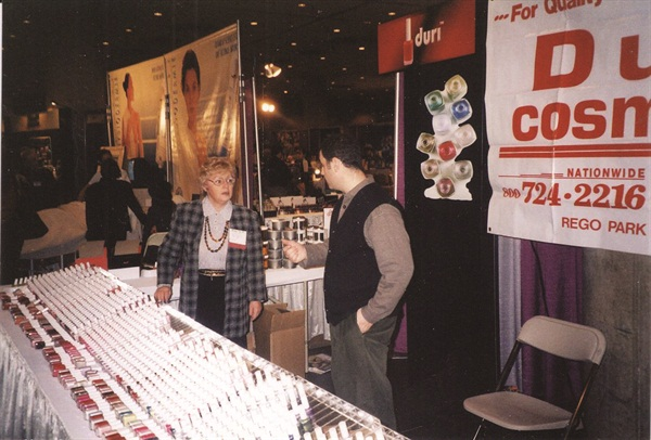 <p>Faina Ritz mans the booth at one of Duri's first trade show appearances in 1991.</p>