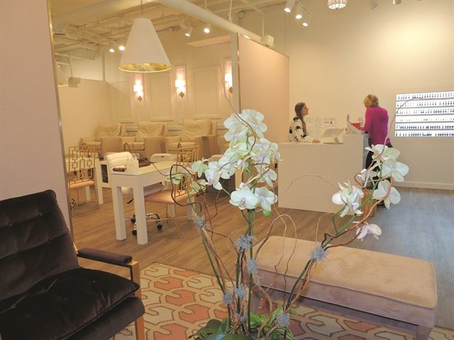 The open, monochromatic salon provides a calm, quiet space to relax and be pampered.