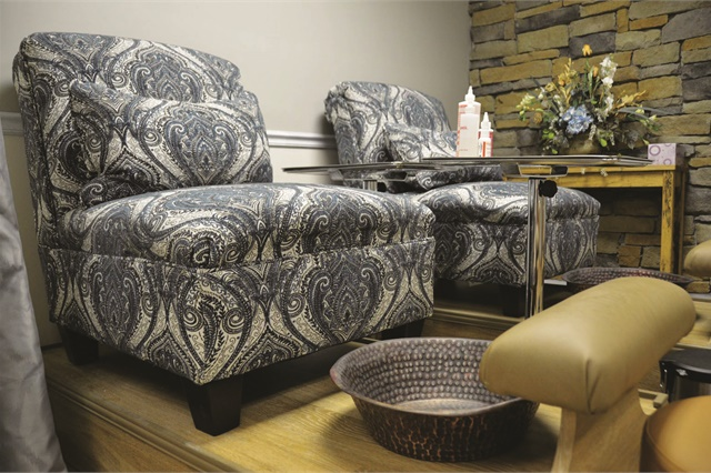 <p>Comfortable chairs make pedicures easier for clients.</p>