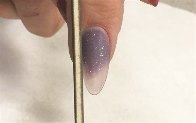 <p>For a strong nail, the natural sidewall should be flush from proximal nail fold to the tip of the finger.</p>