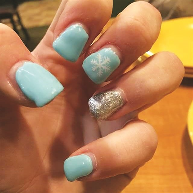 """Danette Boatwright, a nail tech at Twisted 7 Salon in Nevada, Mo., offers this photo as an example of nails that have come to her from another salon for a """"facelift."""" These nails need the sides and the arch balanced."""