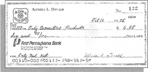 <p>This check was the first Jeff Pink received on behalf of Orly International. At the time, the company was called Orly Cosmetics.</p>