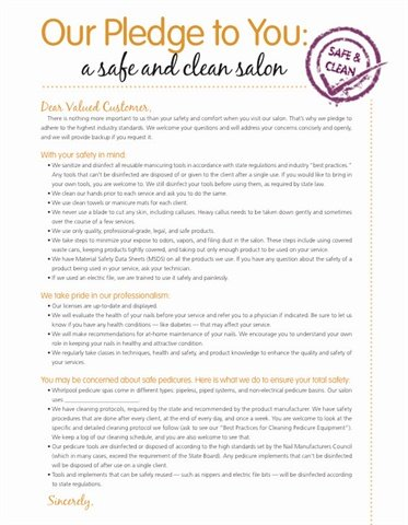 salon sanitation Sanitation hair stylist and salon owner jarrod harms of encinitas, california, says most beauty schools spend a lot of time addressing safety and sanitation procedures.