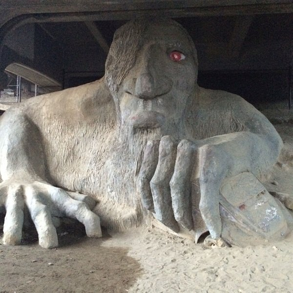 <p>Playing tourist with Braden from Nail Talk Radio. We went to see the troll under the bridge in Seattle. To give you an idea how big he is, that's a VW bug under his hand!</p>