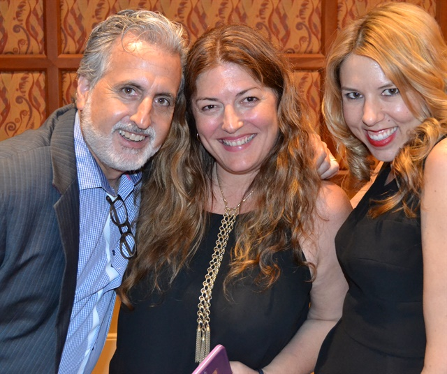 <p>Michelle (center) with Cuccio's Rob Novak and Arica Carpenter</p>
