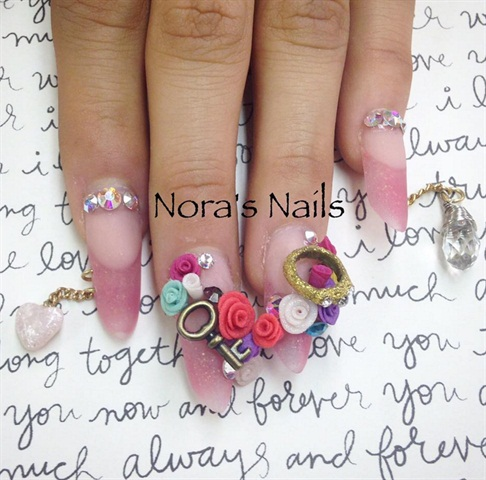Take Nail Art To New Lengths By Adding A Customized Piercing And Chain Tech Nora Bustos Nelibr4 Of Stockton Calif Demonstrates How She Sculpted