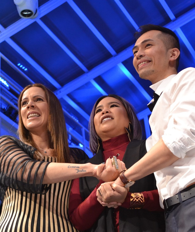 <p>Tracey Lee (left) of The Netherlands was named the 2016 NAILS Next Top Nail Artist. She's standing with Winnie Huang (last year's winner) and Jonny Diep Pham, this year's first runner up, as they wait for the final announcement at the awards ceremony held March 25, 2017.</p>