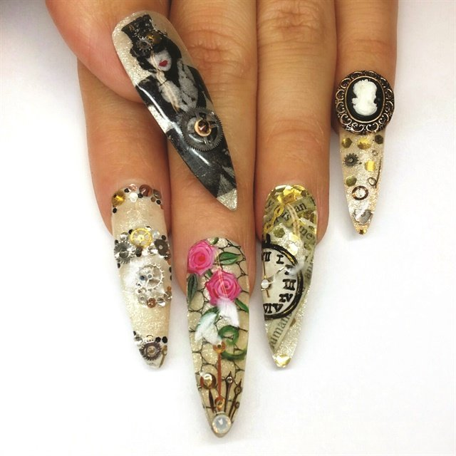 Salon modded nails award winning nail art made wearable style danielle costantinos original steampunk nail art prinsesfo Images