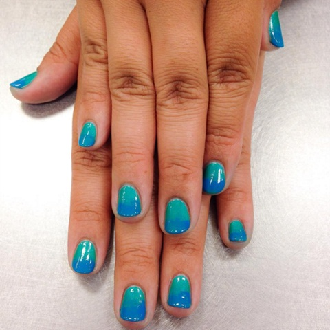 Manicure, polish change, and ombre nail art for a classmate.