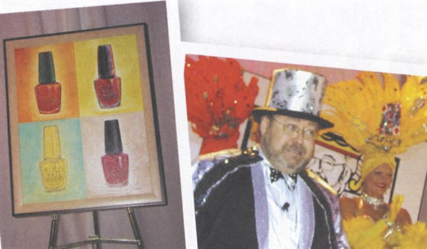 <p>[left] Each million-dollar distributor took home an original painting  created by Sasha Shatlan, the same artist who's responsible for the  artwork hanging throughout OPI's corporate offices.</p> <p>[Right] OPI CEO George Schaeffer proved there's nothing he can't  do—including pretending to play the piano in an amusing homage to  Liberace.</p>