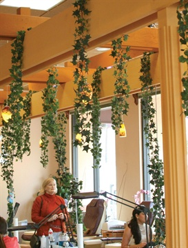<p>Bastawros designed the salon herself, including the trellis through the middle, adding more foliage to the Nail Garden. The salon attracts a diverse clientele, including celebrities and a fair share of men.</p>