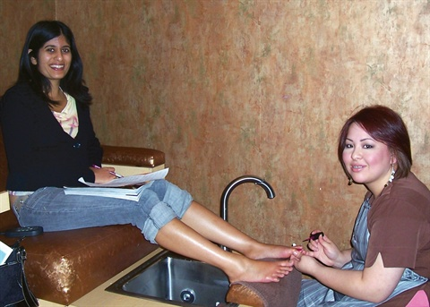 Christina Williams gives me a Traditional Pedicure in one of the salon's two pedicure areas.
