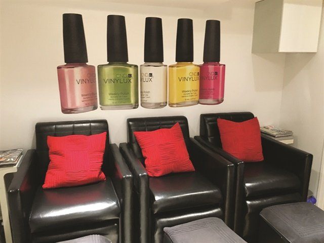 <p>The back pedicure area offers three clients the opportunity to be pampered privately.</p>