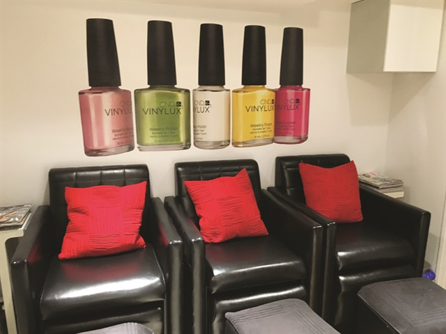 The back pedicure area offers three clients the opportunity to be pampered privately.