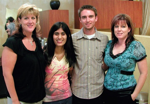 Sree and Tim were so happy with the hospitality of Loni Jensen-Preato (far left) and Shana McManus (far right).