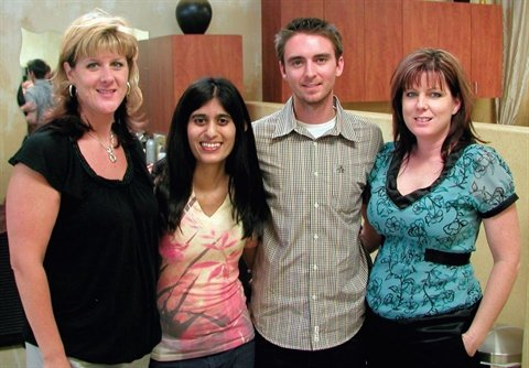<p>Sree and Tim were so happy with the hospitality of Loni Jensen-Preato (far left) and Shana McManus (far right).</p>