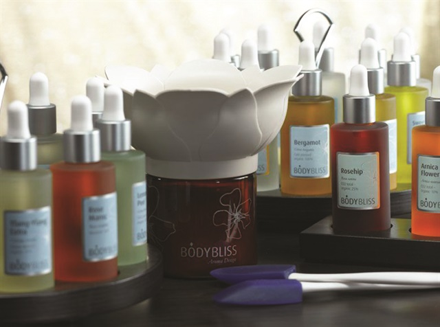 One of Nusta's signature offerings is custom-blended massage oil for use in the spa's body treatments.