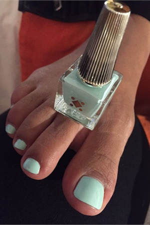 Seafoam green is a playful pedicure color.