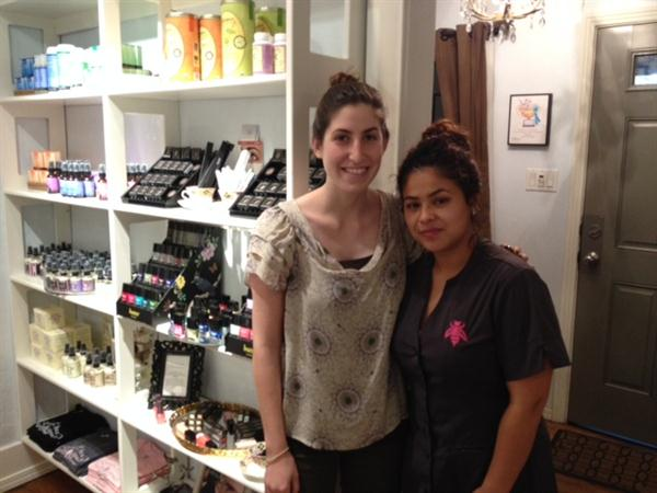 <p>Nails Associate Editor Brittni Rubin with manicurist Jennie Hoang.</p>