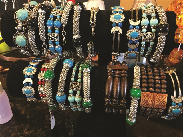 Retail products at the salon include a variety of jewelry.