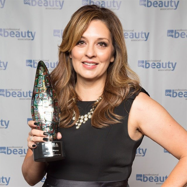<p>NAHA Nail Tech of the Year winner Rochelle Dingman shows off her award. Photo courtesy of PBA</p>