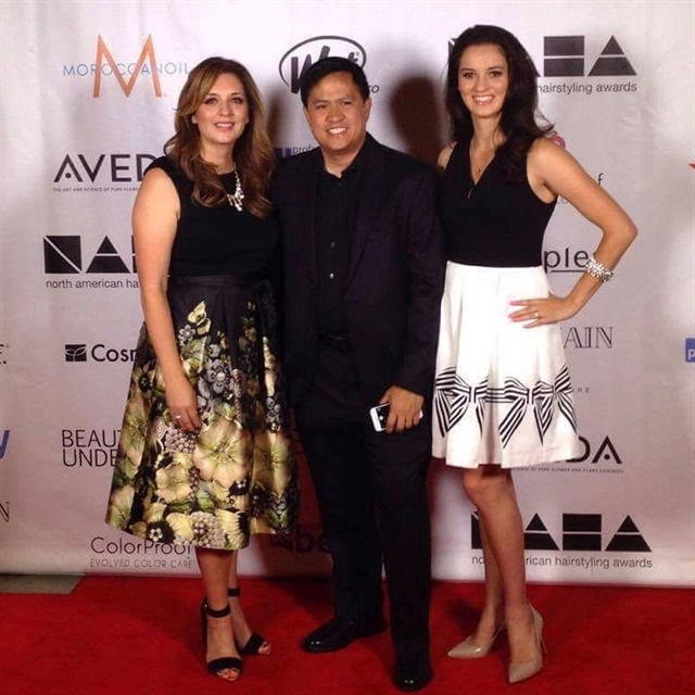 <p>Left to right: Rochelle Dingman, photographer Ed Carlo Garcia, and Rochelle's daughter Phoebe Dingman, who was the makeup artist and hairstylist on the entry.</p>