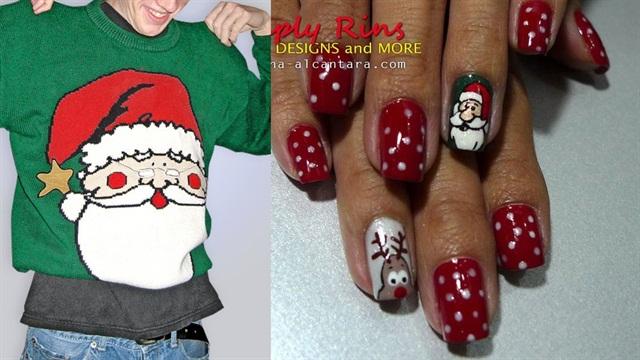 "<p>Sweater: <a href=""TheUglySweaterShop.com"">www.theuglysweatershop.com</a>; Nail art: <a href=""http://www.rina-alcantara.com/2010/12/christmas-nail-art-santa-and-rudolph.html"">Simply Rins</a></p>"