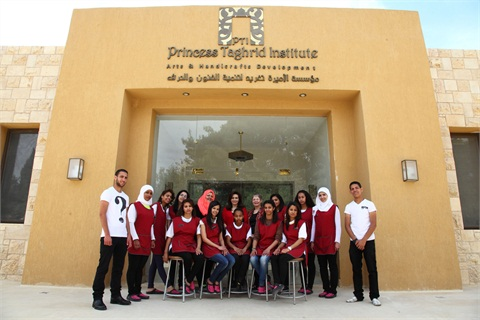 With classes in vocations like secretarial work and hotel management, the director of the Princess Taghrid Institute saw a chance to add nail technology. Here's the first class of nail students (shown with the cosmetology instructor (standing, fifth from left) and U.S. nail tech Janet McCormick (standing, fifth from right)).