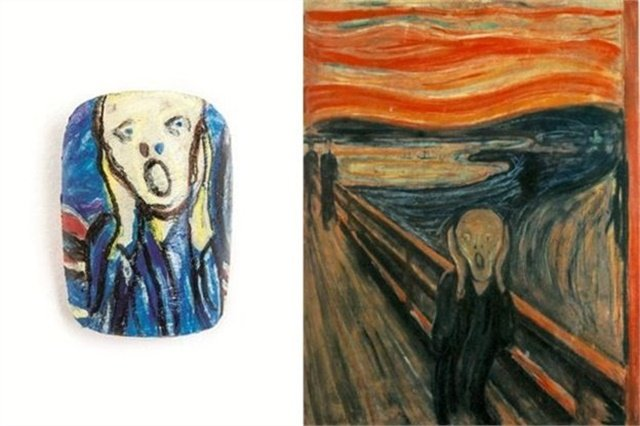 <p>Nail by Deanna White, Fairview, Alberta, Canada. The Scream, displayed at National Gallery (Norway)</p>