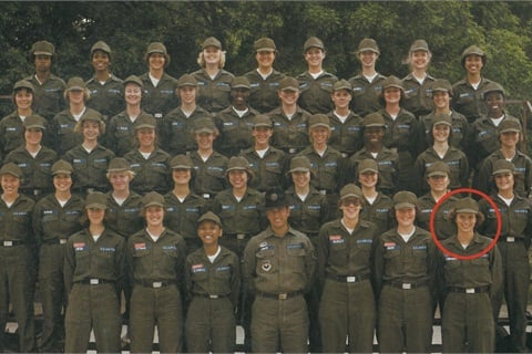 <p>Terri Taricco pictured here with her Air Force squadron, followed in her family's military footsteps. </p>