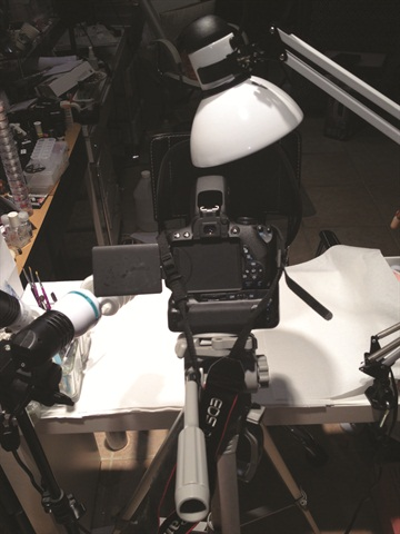 <p>Another angle of Damas' video set-up.</p>