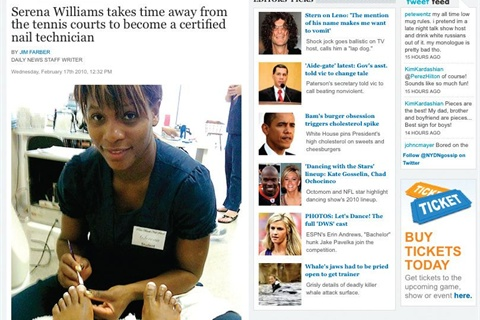 <p>Serena Williams' foray into nails made the gossip section of the New York Daily News.</p>
