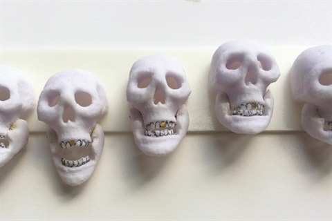 <p>I sculpted 22 of these skulls in two days for the Libertine show. The jaws even move!</p>
