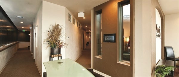 Phenix Salon Suites are private, but close together to facilitate interaction with other suite renters.