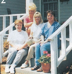 <p>Sitting on the front porch of Nail Expressions Salon are (left to right) BJ Layne, Sandi Bishop, owner Rhonda Coe-Kleifgen, and Nicki Limeris. </p>