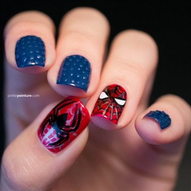 Via Nail Art Gallery. - Web-Swinging Spider-Man Nail Art - - NAILS Magazine