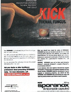 <p>Janssen Pharmaceutica, maker of Sporanox, has helped to increase public awareness of the new breed of treatments for fungal nail infections. The pharmaceutical company is running this ad in consumer magazines such as Newsweek.</p>