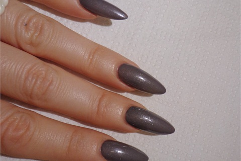 <p>1. On freshly done acrylic nails put two coats of Wild Orchid by Color Club. Wait two minutes for the polish to set.</p>