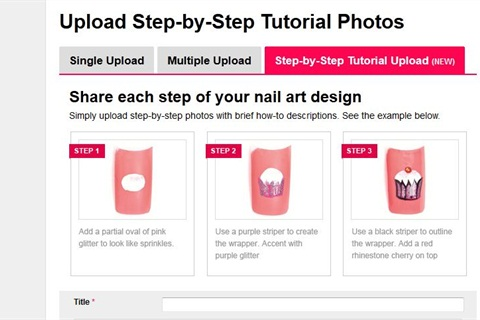 <p>Click on Upload Photos. Select the Step-by-Step Tutorial Upload tab.  Fill out the information as usual. </p>