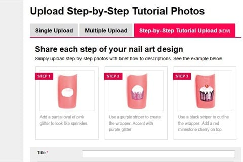 Click on Upload Photos. Select the Step-by-Step Tutorial Upload tab. Fill out the information as usual.